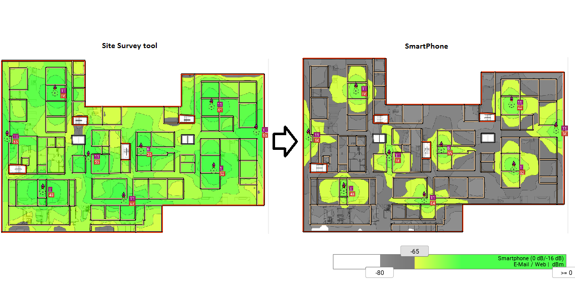 Site survey coverage results vs real site coverage - WYFI ca